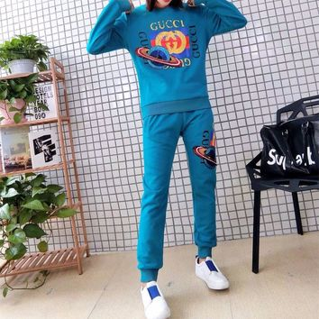 """Gucci"" Women Casual Fashion Sequins Planet Letter Pattern Print Long Sleeve Sweater Trousers Set Two-Piece Sportswear"