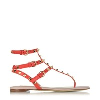 Valentino Designer Shoes Rockstud Deep Orange Leather Flat Sandal
