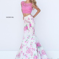 Sherri Hill Fitted Lace Long Dress 50435
