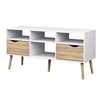 Modern White Natural Oak TV Stand with Mid-Century Style Wood Legs