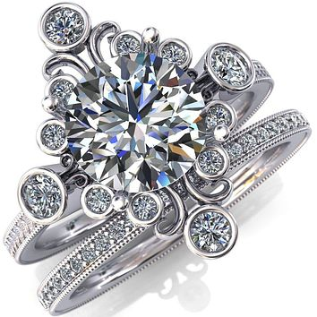 Leilani Round Moissanite Art Deco Natural Diamond Galaxy Design Engagement Ring