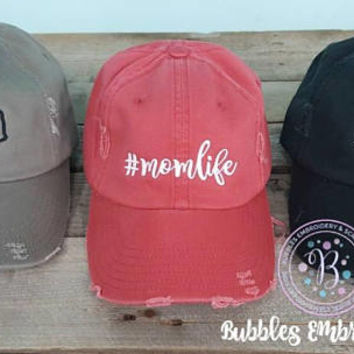 Fall Distressed Mom Hats- #momlife- crazy football mama- mama bear