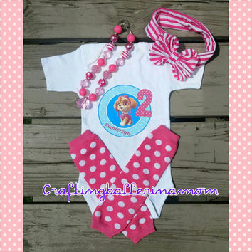 Skye Birthday Paw Patrol Personalized Girl Shirt Onesuit - First Birthday - Second Birthday - Paw Patrol Party - Pink - Headband - Tutu