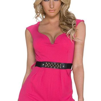 Chic Classy Disco Pink Jumpsuit with Waistband