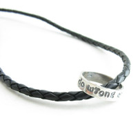 Mens Guys Karma Necklace Do Wrong to None Handmade Metal Circle and Leather Necklace Sterling Silver and Leather Unisex Jewelry
