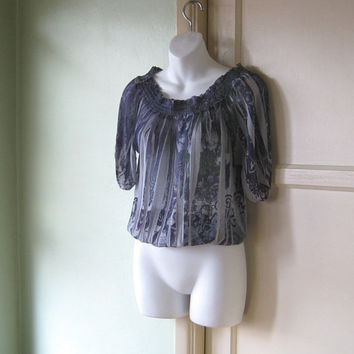 Semi-Sheer Purple Floral Print Peasant Top; Medium-Large - Gauzy Purple Wench Top - Bohemian Tunic Cropped Purple