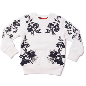 Crew Neck Sweater Floral White