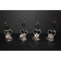 3'8'' Silver Heart Place Card Holders (Set of 4 Pieces)