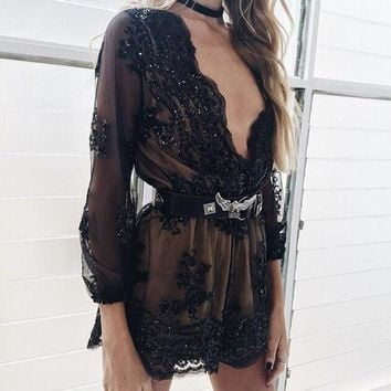 Gold Sequin Embroidery Party Elegant Jumpsuit Romper