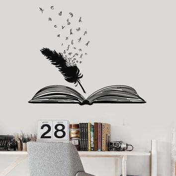 Vinyl Wall Decal Open Book Feather Words Writer Literature School Art Stickers Mural Unique Gift (ig5168)