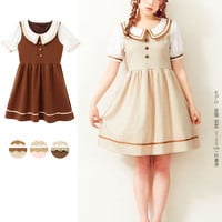 High quality summer women Japan brand short sleeve Lolita Princess Cute one piece dress Brown sweet dresses Mori girl loose doll