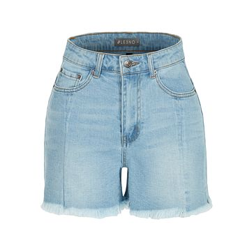LE3NO Womens Vintage High Rise Distressed Frayed Denim Shorts with Pockets