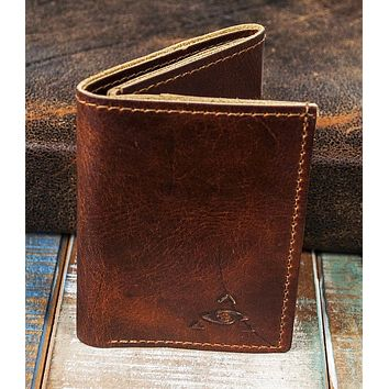 6-Slot Trifold Wallet - The Stanza (Tobacco Snakebite Leather)