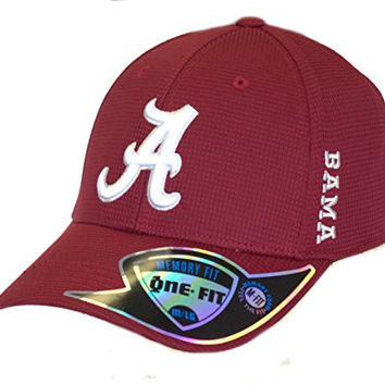 NCAA Licensed Alabama Crimson Tide Textured Memory Fit One-Fit Baseball Hat Cap Lid (Medium/Large)