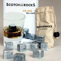 Scotch Rocks Set of 9 Artisinal Hand Cut Whisky Chilling Rocks in Scotch Rocks Gift Box with White Cotton Carrying Pouch