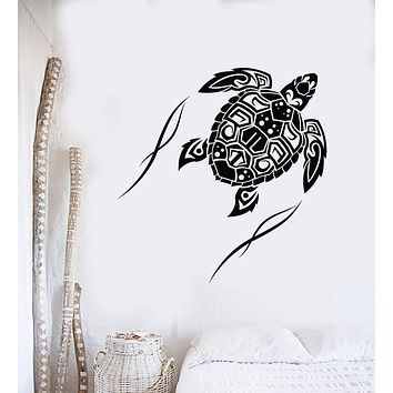 Vinyl Wall Decal Sea Turtle Animal Beach Style Maori Ornament Stickers (3038ig)
