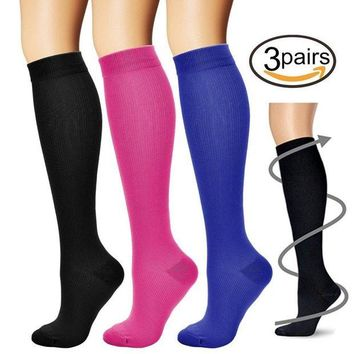 ONETOW BLUETREE Compression Socks,(3 pairs) Compression Sock for Women & Men - Best For Running, Athletic Sports, Crossfit, Flight Travel ?-