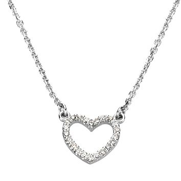 1/8 cttw Diamond Heart Necklace in 14k White Gold