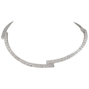 Cartier White Gold 'Tectonique' Diamond Necklace