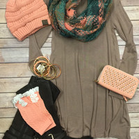 Plaid Infinit Scarf: Peach