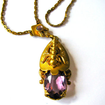 Victorian Pinchbeck Necklace with Amethyst in Pendant, Antique Necklace, 19th century