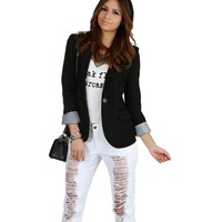 Promo- Black Striped Boyfriend Blazer