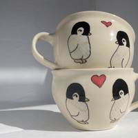 Personalized Wedding Gift - Personalized Engagement Gift - Pair of Made to Order Teacups - Penguins in Love
