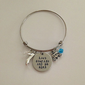 "Disney inspired Cinderella movie bangle bracelet ""Have courage and be kind"" Fairy Godmother disney jewelry charm bracelet"