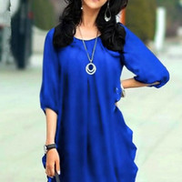 New 2013 Korean brand large size women fashion thin sleeve chiffon dress XXXL XXXXL women summer dress = 1931577924