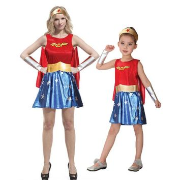 Cool Umorden Purim Carnival Party Halloween Costumes Family Wonder Woman Cosplay Wonder Girl Costume Fancy Dress for Adult KidsAT_93_12