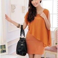 Glamour Scoop Neck Chiffon Splicing Faux Twinset Women's Dress
