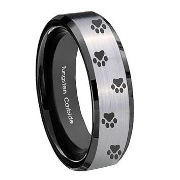 10mm Paw Print Beveled Edges Brushed Silver Black Tungsten Carbide Promise Ring