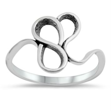 .925 Sterling Silver Funky Flower Ladies Ring Size 4-10 Abstract Band Midi Knuckle Thumb