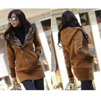 2017 Autumn Stylish Women's Leopard Hoodies Long Sleeve Jacket Coat Zipper Front Outerwear Zips Longline Style Brown Sweatshirt