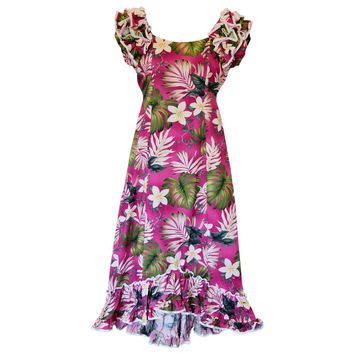 Excite Pink Hawaiian Meaaloha Muumuu Dress with Sleeves