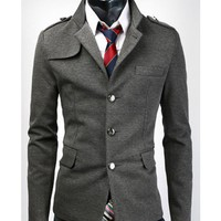 Men Fashion Stand Collar Single-Button Slim Design Grey Polyamide Coat M/L/XL/XXL@S5X07-1g $41.87 only in eFexcity.com.
