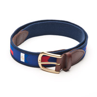 Signal Flag Leather Tab Belt - Navy