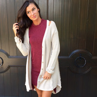 Chic Clique Cardigan Sweater in Tan
