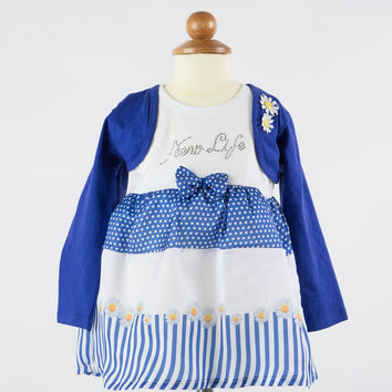 Fun&Fun - Baby Girl Dress and Bolero Set, White and Blue - 9/12M