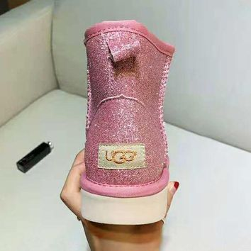 """UGG"" Winter Fashionable Women Simple Shiny Pink Warm Leather Wool Boots Shoes In Tube"