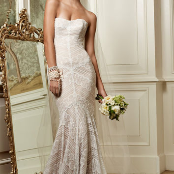 Wtoo by Watters Pippin 13111N Geometric Lace Wedding Dress- No Beads