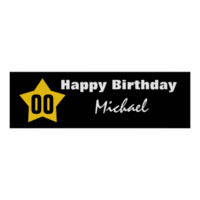 ANY YEAR Birthday Star Banner Custom Name V01 Posters