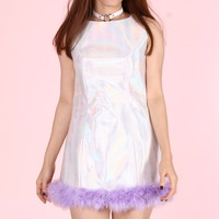 Glitters For Dinner — Made To Order - Michelle Silver Holographic Dress with Purple Faux Fur
