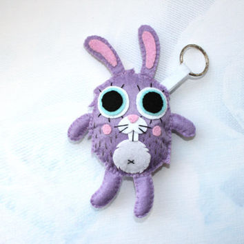 Keychain Bunny felt keychain cute keychain purple violet rabbit october trends halloween fall gift guide  stuffed animal bag accessory