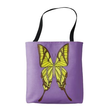 Brown and Yellow Butterfly Art Graphic Tote Bag
