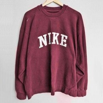 DCCKSP2 NIKE Fashion Casual Burgundy Long Sleeve Sport Top Sweater Pullover Sweatshirt