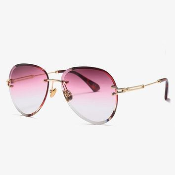 Luxury Rimless Aviator Sunglasses Women Italy Brand Designer Gradient Sun Glasses For Female High Quality Shades Clear Eyewear