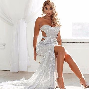 Fuedage Summer Sexy Dresses Women Solid Sequined Hollow Out High Slit Party Dresses 2018 V Neck Long Vintage Maxi Dress Vestidos