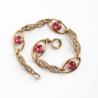 Vintage 10k Rosy Yellow Gold Filled Simulated Pink Sapphire Filigree Bracelet - 1940s Link Jewelry Hallmarked Sturdy, J. F. Sturdy Co