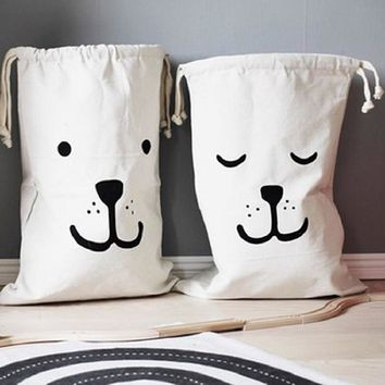 Large Canvas Toy/Laundry Storage Bags w/Drawstring